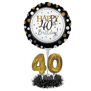 Creative Converting Happy 40Th Birthday Balloon Centerpiece Black And Gold
