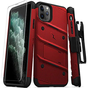 Zizo Bolt Cover - Case for iPhone 11 Pro Max with Military Grade + Glass Screen Protector & Kickstand and Holster (Red/Black)
