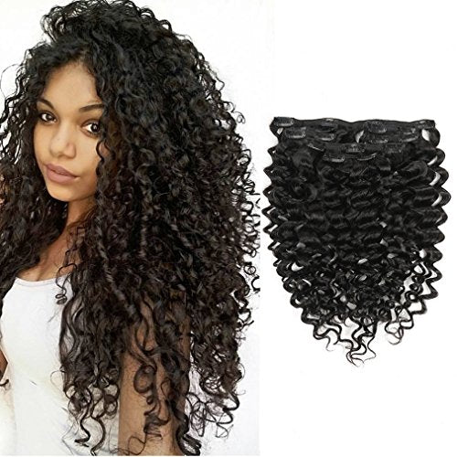 Clip in Human Hair Extensions Real Remy Clip on 18 inch Brazilian Jerry Curly African 3B 3C 4A Natural Black Hair Extensions Full Head For Black Women 120g/set