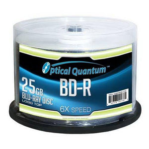 Optical Quantum 6X 25Gb Bd-R Single Layer Blu-Ray Recordable Blank Media Logo Top 50-Disc Spindle