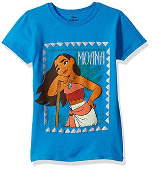 Disney Girls' Big Moana Cap Sleeve T-Shirt, Turquoise S-7