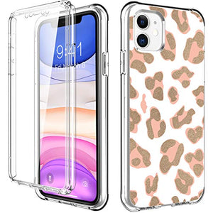 ZHK iPhone 11 Case, Leopard Shockproof Case with Built-in Screen Protector Soft TPU Flexible TPU Full-Body Transparent Bumper Protective Stylish Cover Case for iPhone 11 (6.1-inch,2019)