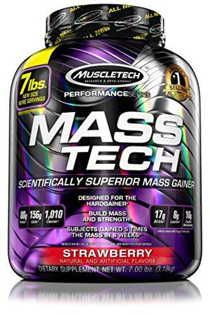 Muscletech Mass Tech, Scientifically Superior Weight Gain Formula, Strawberry, 7 Lbs (3.18Kg)