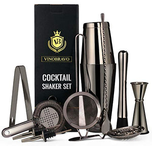 11-Piece Bartender Kit Boston Cocktail Shaker Bar Set by VinoBravo : 2 Weighted Shaker Tins, Strainer Set, Double Jigger, Bar Spoon, Ice Muddler & Tong, 2 Liquor Pourers & Recipe Guide (Black)