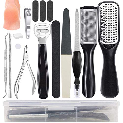 Professional Pedicure Tools Kit, Stainless Steel Foot File Aupplies Set 15 in 1, Nail Clippers, Foot Care, Callus Remover for Women and Men at Home or Travel