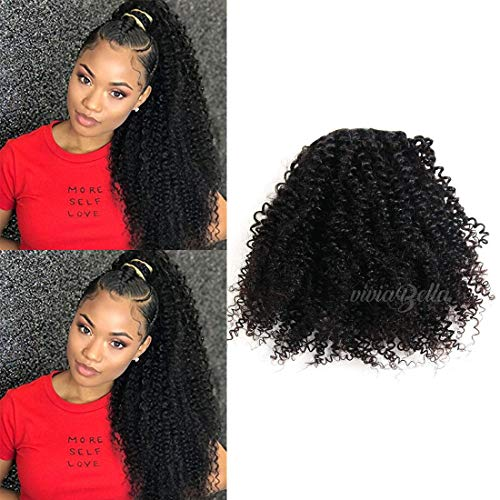 "viviaBella Afro Puff Kinky Curly Drawstring Ponytail Human Hair Extensions 100g Net Hair 20 Inches 2 Claw Clips in Top Closure (100g 20"", Jet Black)"