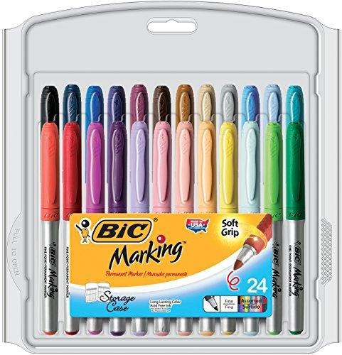 Bic Marking Fashion Permanent Marker, Fine Point, Assorted Colors, 24-Count