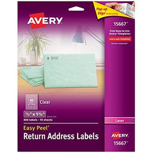 Avery Easy Peel Clear Return Address Labels For Laser Printers 0.5 X1.75 Inches Pack Of 800 (15667)