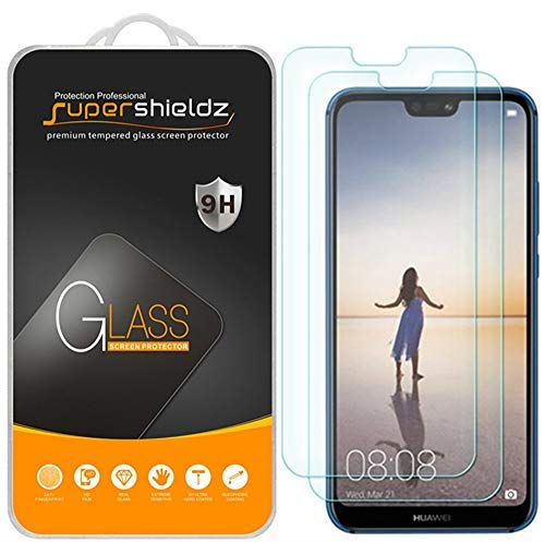 (2 Pack) Supershieldz for Huawei (P20 Lite) Tempered Glass Screen Protector, 0.33mm, Anti Scratch, Bubble Free