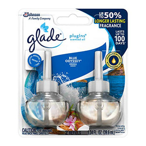 Glade PlugIns Scented Oil Refill Blue Odyssey, Essential Oil Infused Wall Plug In, Up to 50 Days of Continuous Fragrance, 1.34 oz, Pack of 2
