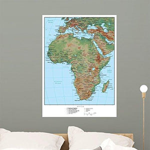 Wallmonkeys Africa Terrain Educational Map Wall Mural Peel and Stick Graphic (36 in H x 26 in W) WM262030