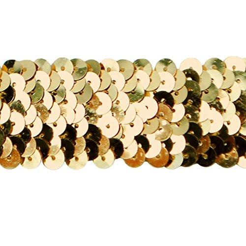 "Expo Ir6706Gl-20 20 Yds Of 3 Row 1 4"" Met. Stretch Sequin Trim,Gold"