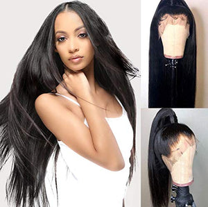 Chantiche Silky Straight 360 Lace Frontal Wig Pre Plucked-180% Density 360 Human Hair Wigs with Baby Hair Brazilian Remy Virgin Human Lace Wig for Black Women 10inches Natural Color