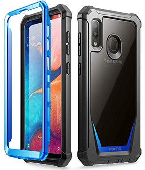 Galaxy A20 Rugged Clear Case, Galaxy A30 Case, Poetic Full-Body Hybrid Shockproof Bumper Cover, Built-in-Screen Protector, Guardian Series, Case for Samsung Galaxy A20 / Galaxy A30, Blue/Clear
