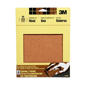 3M Garnet Sandpaper, 9-in by 11-in, 4-Sheet Course-Grit (9038NA)