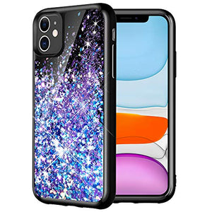 Caka Case for iPhone 11 Glitter Case Starry Night Liquid Bling Sparkle Cute Luxury Fashion Flowing Glitter Soft TPU Black Women Girls Phone Case for iPhone 11 (6.1 inch)(Blue Purple)