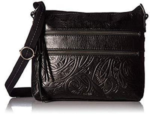 The Sak Reseda Crossbody, Black Leaf Emboss