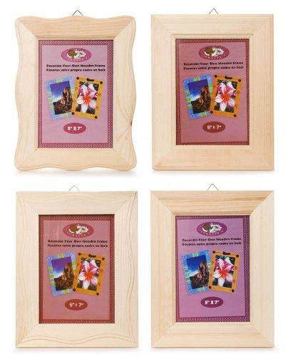 Darice 1 Piece, 5 X7 Inch, Natural Wood Frame, Assorted Styles