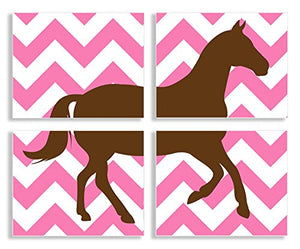 The Kids Room By Stupell Brown Horse Silhouette On Pink Chevron 4-Pc Rectangle Wall Plaque Set, Proudly Made in USA
