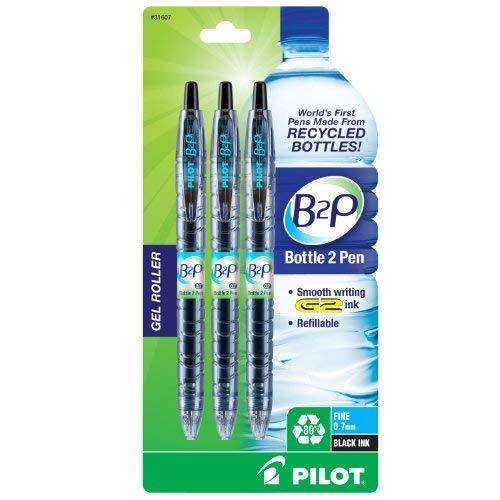 Pilot B2P Bottle To Pen Retractable Gel Roller Pens 3 Pen Pack Fine Point Black (31607)