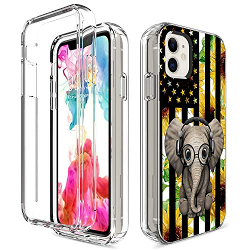 iPhone 11 Case, Amook Shockproof Clear Dual Layer Hybrid Hard PC+Soft TPU Bumper 2 in 1 Transparent Protective Cover Phone Case for Apple iPhone 11 6.1 Inch 2019-Elephant & Sunflower