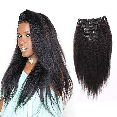 AmazingBeauty Kinkys Straight Human Hair Clip In Extensions 8A Grade Thick 100% Virgin Hair Natural Black 10-22inch 7 Pieces with 18 Clips 120g/4.2oz per Set Fit For Full Head 20 inch
