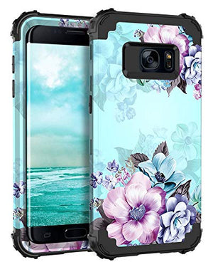 Casetego Compatible Galaxy S7 Case,Floral Three Layer Heavy Duty Hybrid Sturdy Shockproof Full Body Protective Cover Case for Samasung Galaxy S7,Blue Flower