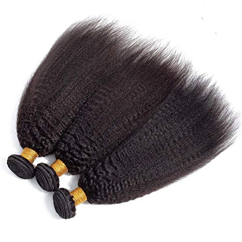 8A+ Kinky Straight Human Hair 3 Bundles(16 18 20)Yaki Human Hair Weave Unprocessed Sew in Brazilian Virgin Remy Hair Extensions Natural Black