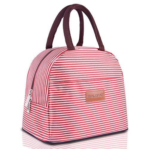 BALORAY Lunch Bag Tote Bag Lunch Bag for Women Lunch Box Insulated Lunch Container (RedWhite Strip)