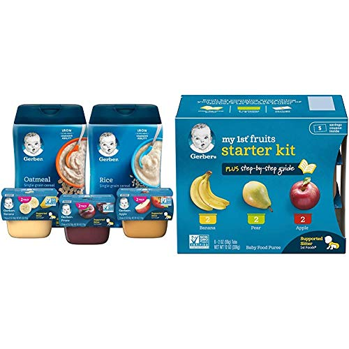 Gerber Purees 1St Foods & Single Grain Cereal Assorted Variety Pack, 11 Count & Purees My 1St Fruits Starter Kit, 2 Ounce Tubs, Box Of 6 (Pack Of 2)