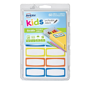 Avery 0.75 X 1.75 Inches Durable Labels For Kids Gear Assorted Pack Of 60 (41442)