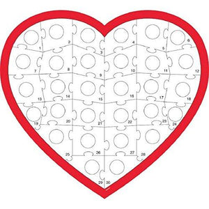 Amscan 270180 Heart Puzzle Activity Kit, 31 X 35 Inches, Red And White