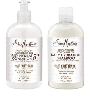 Sheamoisture 100% Virgin Coconut Oil Daily Hydration Shampoo & Conditioner 13 Fl. Oz. Each