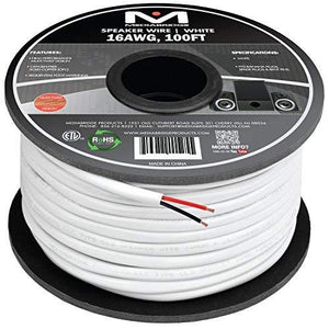 Mediabridge 16Awg 2-Conductor Speaker Wire (100 Feet, White) - 99.9% Oxygen Free Copper - Ul Listed Cl2 Rated For In-Wall Use (Part Sw-16X2-100-Wh )