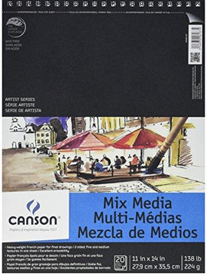 Canson Artist Series Mix Media Paper Pad 138 Pound 11 X 14 Inch 20 Sheets