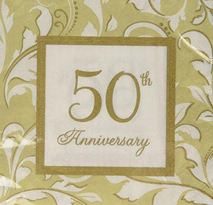"Amscan ""50Th Anniversary"" Lunch Napkins , 16Ct"