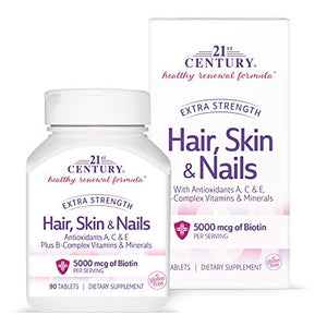21St Century Hair, Skin And Nails Extra Strength Tablets, 90 Count
