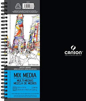 "Canson Artist Series Mix Media Pad, 9""X12"" Side Wire"