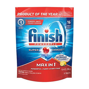 Finish Max In 1 Powerball, 14Ct, Ultra-Degreaser W. Lemon Dishwasher Detergent Tablets