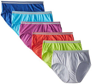 Fruit of the Loom Womens 6 Pack Heather LowRise Brief Panties Assorted 7
