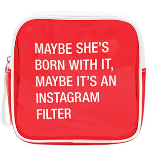 "About Face Designs Say What - Instagram Filter Clear Vinyl Cosmetic Bag, 6.5"", Red"