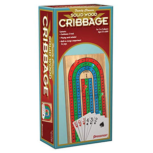 Family Classics Cribbage - Solid Wood Continuous 3 Track Board