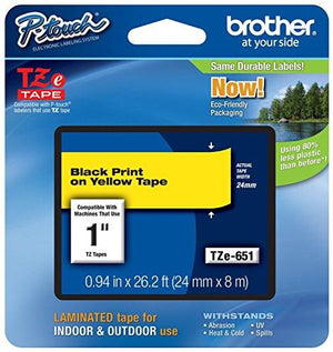 Brother Laminated Tape Black On Yellow, 24Mm (Tze651) - (2, Black On Yellow)