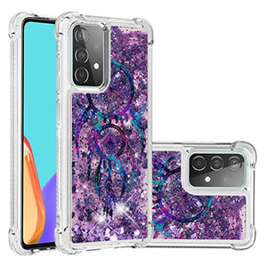 QIVSTAR Case for Samsung Galaxy A52 5G Soft TPU Bling Liquid Moving Quicksand Case for Women Luxury Shell Case Scratchproof Protective Slim Cover for Samsung Galaxy A52 5G Purple Campanula YB