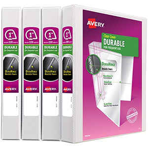 "Avery 1"" Durable View 3 Ring Binder, Slant Ring, Holds 8.5"" x 11"" Paper, 4 White Binders (17012)"