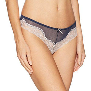 Maidenform Women's Comfort Devotion Mesh & Lace Tanga, Navy/Gloss Combo 9