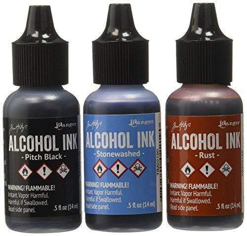 Ranger Adirondack Alcohol Ink 1/2-Ounce 3/Pkg, Miners Lantern, Rust/Stonewash/Pitch Blk