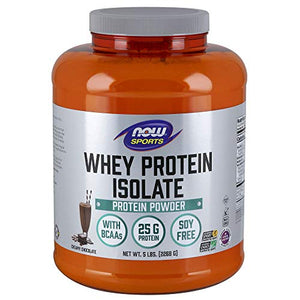 NOW Sports Nutrition, Whey Protein Isolate, 25 G With BCAAs, Creamy Chocolate Powder, 5-Pound