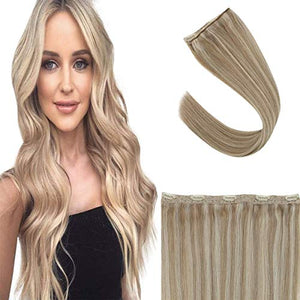 Sunny Clip on Hair Extensions Blonde Highlights 22 inch Highlighted Blonde Clip Hair Extensions Remy One Piece Blonde Extensions With 5 Clips #16 Mix #22 70g