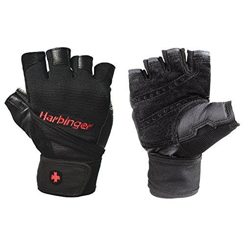 Harbinger Pro Wristwrap Weightlifting Gloves with Vented Cushioned Leather Palm (Pair), X-Large